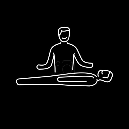 Illustration for Man healing other man on massage table white linear icon on black background  flat design alternative healing illustration and infographic - Royalty Free Image