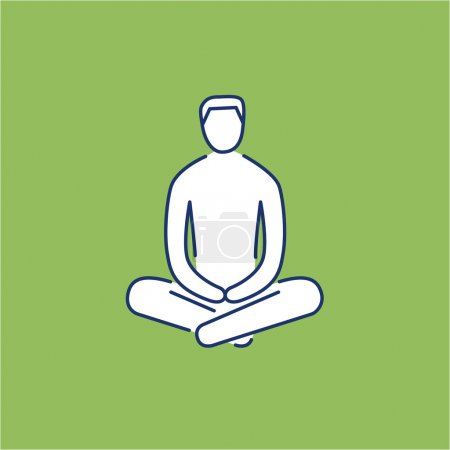 Illustration for Man sitting and relaxing in meditation position white linear icon on green background  flat design alternative healing illustration and infographic - Royalty Free Image