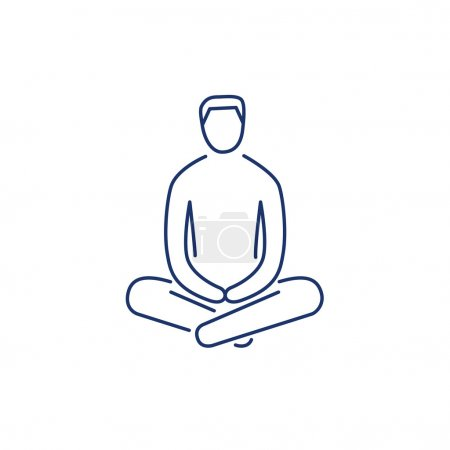 Illustration for Man sitting and relaxing in meditation position blue linear icon on white background flat design alternative healing illustration and infographic - Royalty Free Image