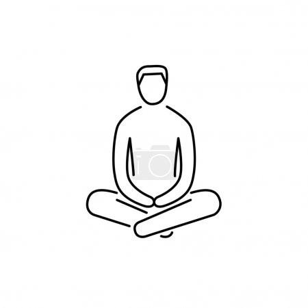 Illustration for Man sitting and relaxing in meditation position black linear icon on white background flat design alternative healing illustration and infographic - Royalty Free Image