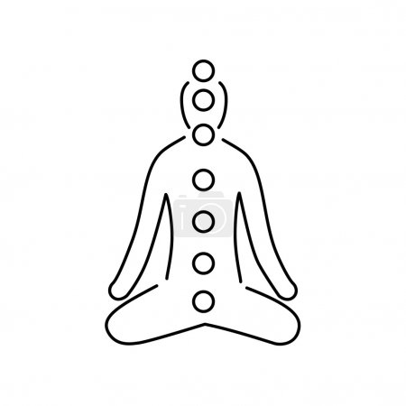 Illustration for Meditation and chakras black linear icon on white background flat design alternative healing illustration and infographic - Royalty Free Image