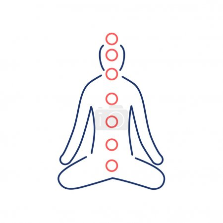 Illustration for Meditation and chakras red and blue linear icon on white background flat design alternative healing illustration and infographic - Royalty Free Image