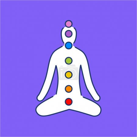 Illustration for Meditation and chakras white linear icon on purple background flat design alternative healing illustration and infographic - Royalty Free Image