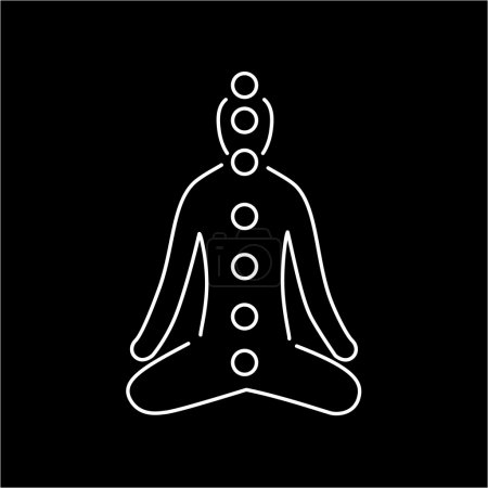 Illustration for Meditation and chakras white linear icon on black background flat design alternative healing illustration and infographic - Royalty Free Image