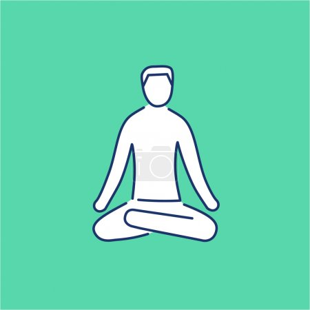 Illustration for Meditation relaxation positon white linear icon on green background flat design alternative healing illustration and infographic - Royalty Free Image