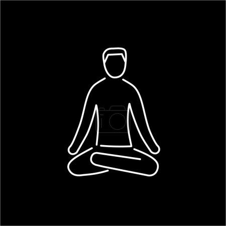 Illustration for Meditation relaxation positon white linear icon on black background  flat design alternative healing illustration and infographic - Royalty Free Image