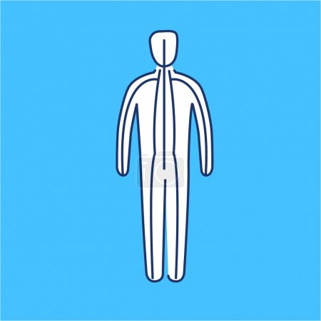 Illustration for Meridians of the body white linear icon on blue background flat design alternative healing illustration and infographic - Royalty Free Image