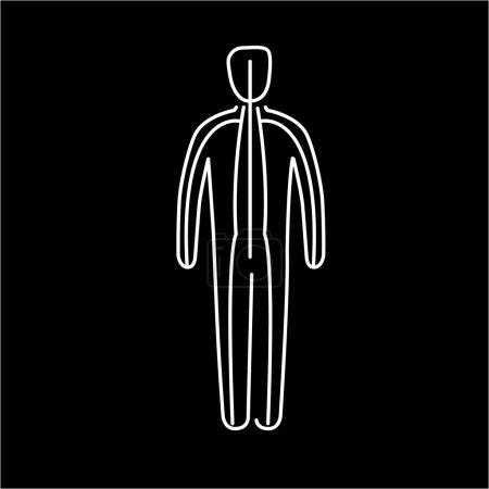 Illustration for Meridians of the body white linear icon on black background flat design alternative healing illustration and infographic - Royalty Free Image
