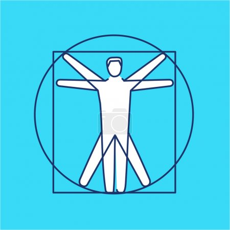 Illustration for Proportion of human body black and white linear icon on blue background   flat design alternative healing illustration and infographic - Royalty Free Image
