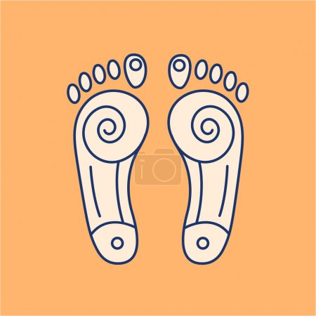 Illustration for Reflex therapy energy zones on feet colored linear icon on orange background   flat design alternative healing illustration and infographic - Royalty Free Image