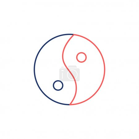 Illustration for Ying yang linear red and blue icon symbol of harmony and balance on white background flat design alternative healing illustration and infographic - Royalty Free Image