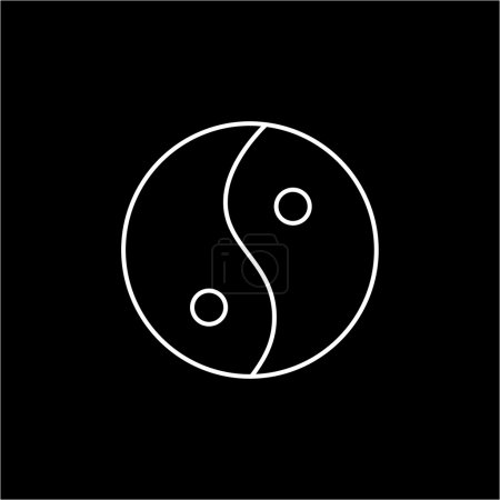 Illustration for Ying yang linear white icon symbol of harmony and balance on black background  flat design alternative healing illustration and infographic - Royalty Free Image