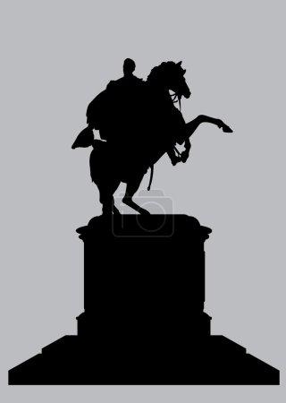Silhouette Equestrian Statue of Bolivar in Caracas...