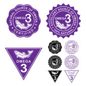 Omega 3 Certified Seal Icons Set