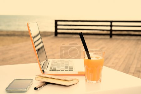 Photo for Useful digital devices to connect outdoors during a working session - Royalty Free Image