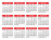 Simple calendar for 2015 year