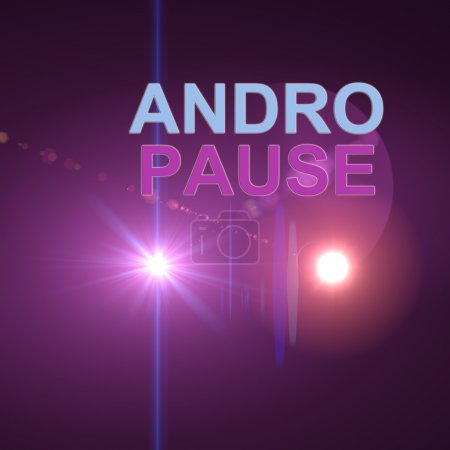 Word andropause on optical flares  background...