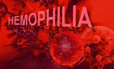 Photo pour Le mot hémophilie représente le trouble sanguin ou la maladie qui affecte les personnes qui ne peuvent pas former de caillots pour fermer les plaies - image libre de droit