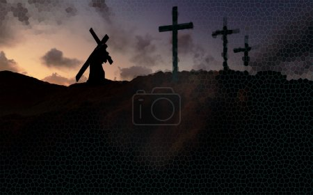 Photo for The figure of Christ carrying the cross up Calvary on Good Friday. The sky is dark and stormy. - Royalty Free Image