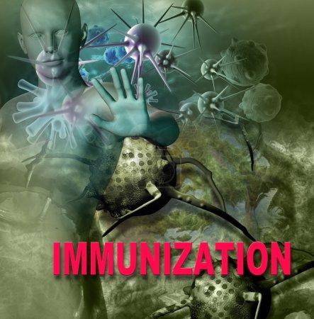 Photo pour Attaque du système immunitaire humain le virus dans le logiciel 3d - image libre de droit