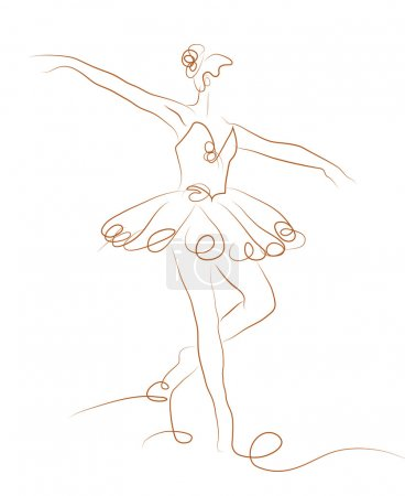 Sketch of girls ballerina standing in a pose onwhi...