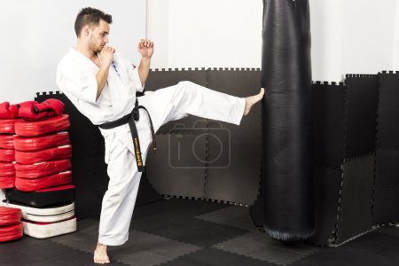 Athletic karate fighter giving a forceful foot kick to a heavy b