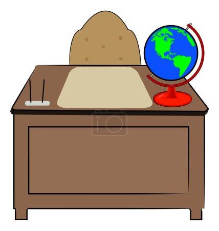 Illustration pour Bureau d'affaires ou d'enseignants avec globe du monde assis dessus - vecteur - image libre de droit