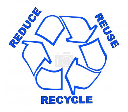 Illustration for Recycle symbol with words reduce, reuse, recycle - Royalty Free Image