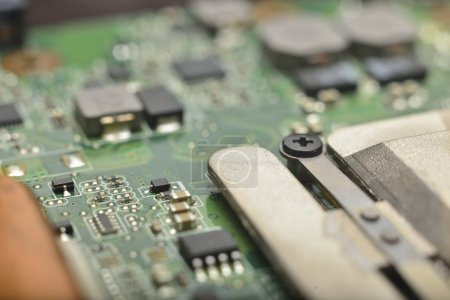 Photo for Micro electronics develop and manufacturing background - Royalty Free Image