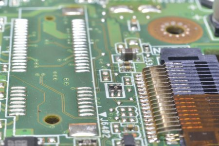Photo for Pins and wires on microcontroller (computer background) - Royalty Free Image