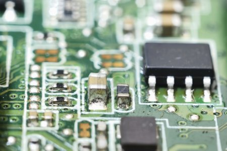 Photo for Structure of computer equipment (green microcircuit) - Royalty Free Image