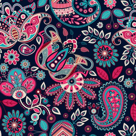 Illustration for Paisley seamless pattern. Floral background in ethnic style - Royalty Free Image