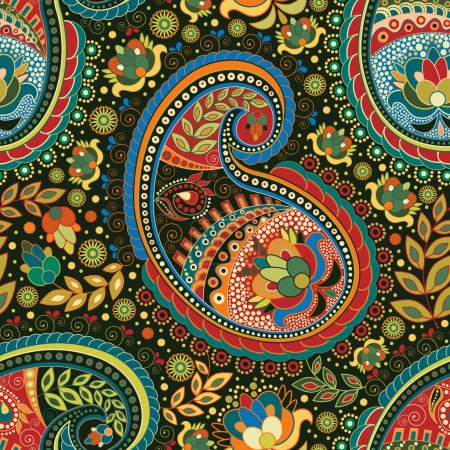 Paisley colorful seamless pattern