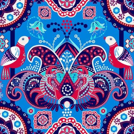 Blue flowers seamless pattern
