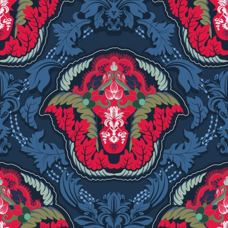 Blue and red indian seamless pattern