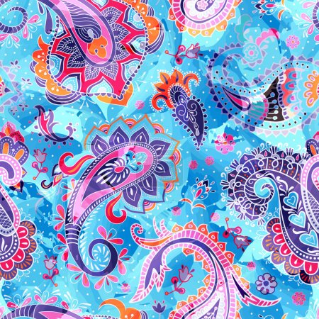 Illustration for Colorful Paisley pattern. Vector seamless floral wallpaper - Royalty Free Image