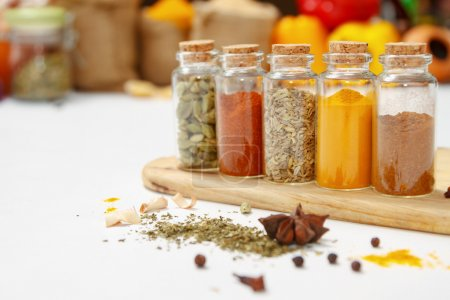 Photo for Spices and herb for cooking or decorate and design,The  spics and herbs on white background,spices content,spices background,Group of indian spices on white background with copy space. - Royalty Free Image