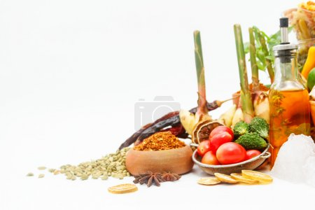 Photo for Group of indian spices and herbs on white background, normal view mix indian spices and herbs difference ware on white background with copy space for design vegetables, spices, herbs or foods content. - Royalty Free Image