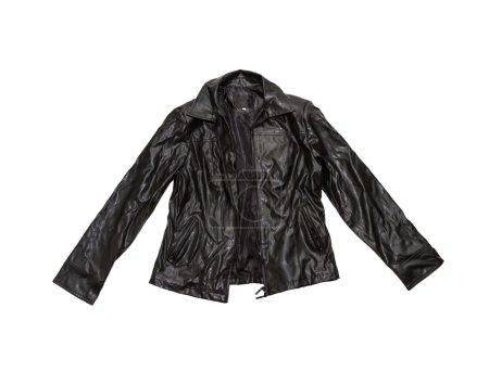 Photo pour Vintage veste en cuir sur isolat de blanc avec un tracé de détourage. - image libre de droit