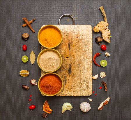 Photo for Food and spices herb for cooking background and design. - Royalty Free Image