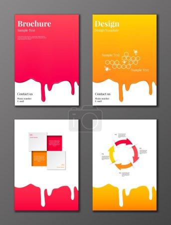 Illustration pour Ensemble vectoriel de brochures et dépliants décorés de sirop de rose et de miel coulant vers le bas et d'éléments infographiques - image libre de droit