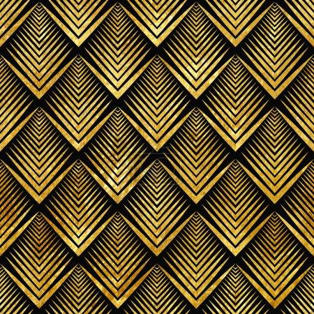 Ilustración de Ilustración vectorial del patrón oro inconsútil en estilo art deco - Imagen libre de derechos