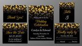 Zlatý svatební pozvání sada