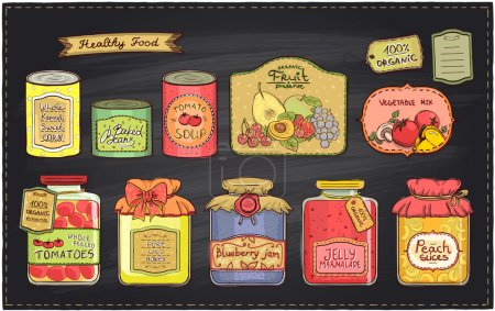Illustration for Hand drawn retro style illustration with canned goods set and tags on a chalkboard backdrop. Tomato soup, blueberry jam, peach slices, tomatoes, sweet corn, fruit preserve, baked beans, wild honey - Royalty Free Image