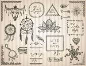 Hand drawn sketch elements set in boho style hippie indie style tattoo templates