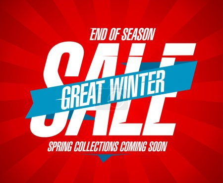 Illustration for Great winter sale, end of season design in retro style. - Royalty Free Image