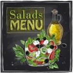 Salads menu chalkboard  design with Greek salad....