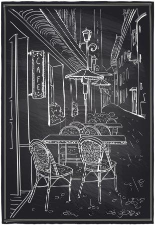 Street cafe chalk sketch on a blackboard.