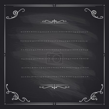 Chalkboard frame with antique curls.