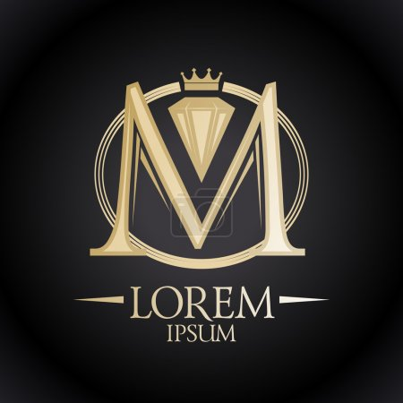 Gold letter M with diamond and crown.